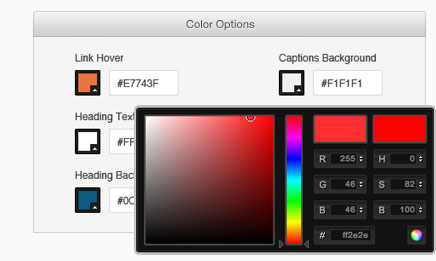 Workshop styling options let you specify colors for many different page elements.