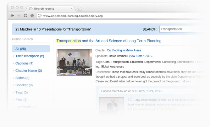 Video search results showing matches grouped by presentation and associated timings.